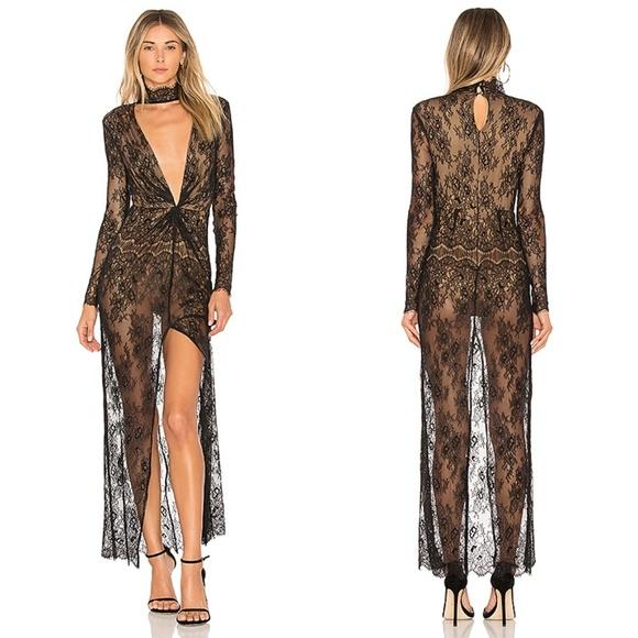 MAJORELLE Dresses & Skirts - MAJORELLE Callisto Lace Collar Black Maxi Dress